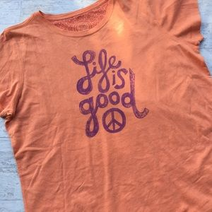 LIFE IS GOOD Peace Boho Tee Orange Outdoor Large